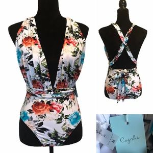 NWT Cupshe one piece floral swimsuit